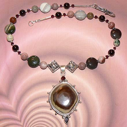 Sterling Silver Imperial Jasper and Garnet Necklace