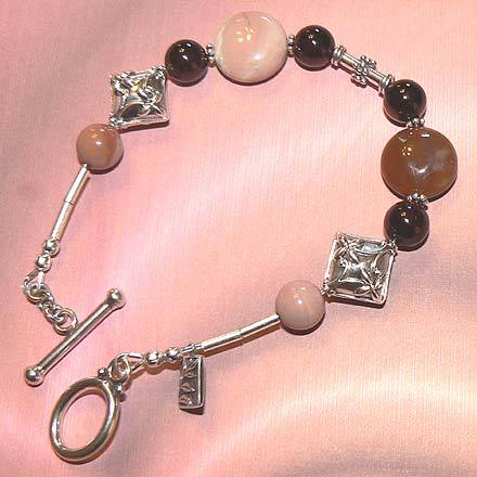 Sterling Silver Imperial Jasper and Garnet Bracelet