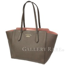 GUCCI Swing Medium Leather Brown Pink Tote Bag 354408 Italy Authentic 54... - $650.84