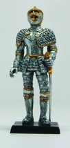 4 Inch Armored Medieval Knight with Sword Resin Statue Figurine - £6.30 GBP