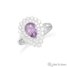 Amethyst and CZ Cocktail Ring - €49,96 EUR