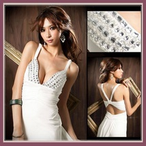 Chiffon Taffeta Diamond Beaded Bodice Empire Waist and Open Back Prom Gown - $83.95