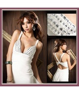 Chiffon Taffeta Diamond Beaded Bodice Empire Waist and Open Back Prom Gown - €72,44 EUR