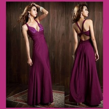 Chiffon Taffeta Diamond Beaded Bodice Empire Waist and Open Back Prom Gown image 3