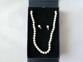 Orfevrerie Wiskemann Signed Vintage 925 Silver & Pearl Necklace Earrings... - $114.25