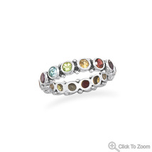 Multi-Stone Design Sterling Silver Eternity Ring  - €58,25 EUR