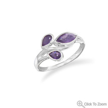 Sterling Silver Ring with Pear Shape and Marquise Shape Amethyst  - €33,30 EUR