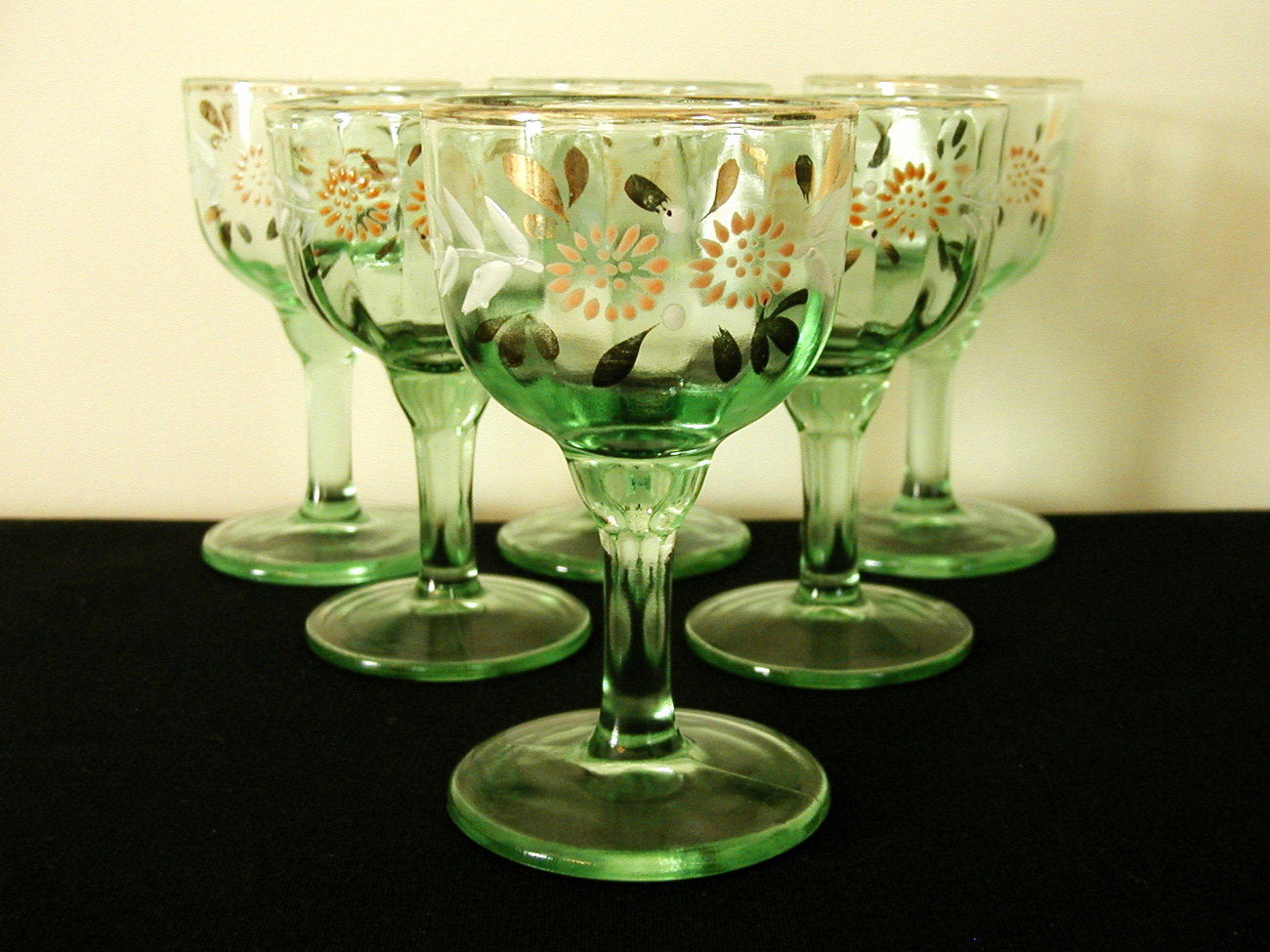 Green Depression Decorated Wine Goblets - Six