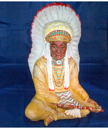Hand-Painted 12-Inch Ceramic American Indian Chief - $4.99