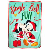 Mickey and Minnie Fleece Christmas Throw Blanket Green - £26.83 GBP
