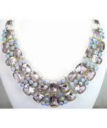 Table-Top faceted Rose Quartz and Fire Opal Circles Sterling Silver Neck... - $307.00