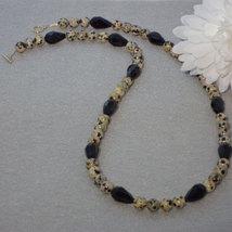 Dalmatian Jasper Gemstone Beaded Necklace  FREE SHIPPING - $32.00