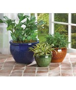 3 Large Flower Pots Planters Ceramic - $13.20