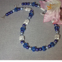 White and Blue Beaded Necklace With A Mixture Of Shapes and Sizes  FREE ... - $28.00