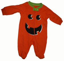 0-3 Months Babys Pumpkin Footed Sleeper   - $9.00