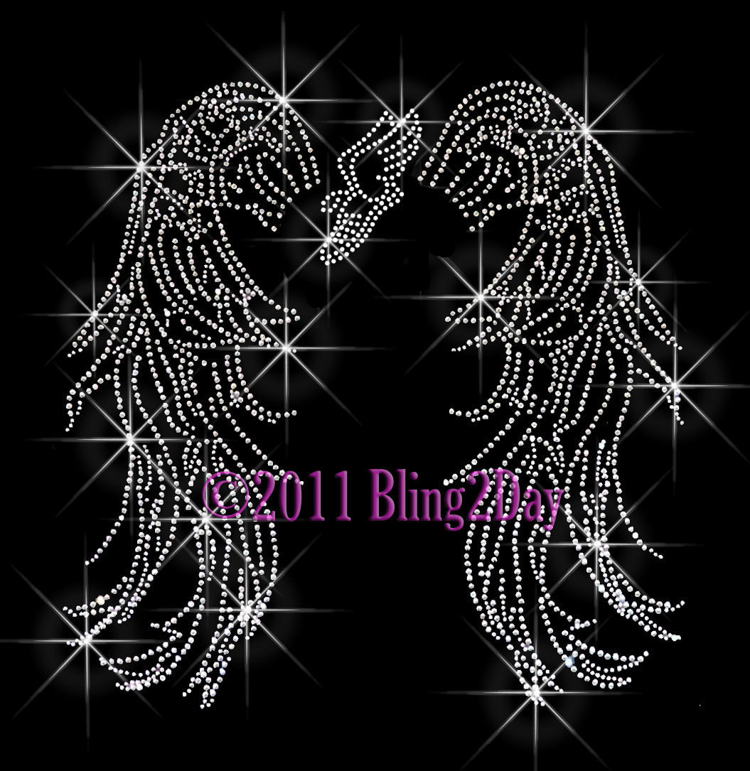 Primary image for Angel Wings - Track Running Shoe - Iron on Rhinestone Transfer Bling Hot Fix