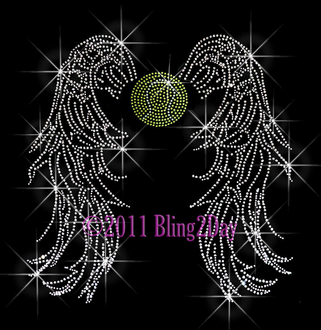 Primary image for Angel Wings - Tennis - Iron on Rhinestone Transfer Bling Hot Fix Sports School