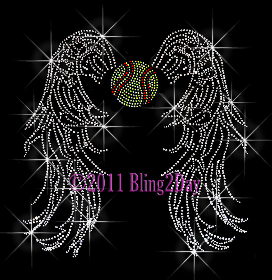 Primary image for Angel Wings - Softball - Iron on Rhinestone Transfer Bling Hot Fix Sports School