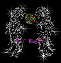 Angel Wings - Softball - Iron on Rhinestone Transfer Bling Hot Fix Sport... - $13.99