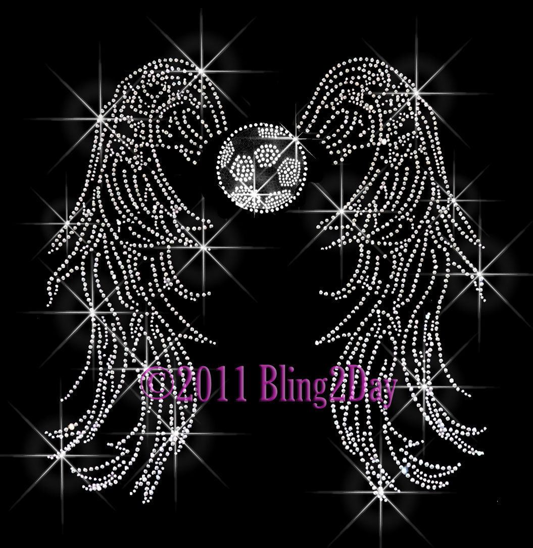 Primary image for Angel Wings - Soccer - Iron on Rhinestone Transfer Bling Hot Fix Sports School