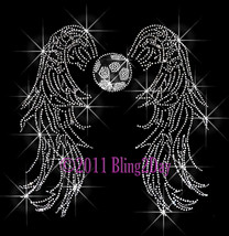 Angel Wings - Soccer - Iron on Rhinestone Transfer Bling Hot Fix Sports ... - $13.99