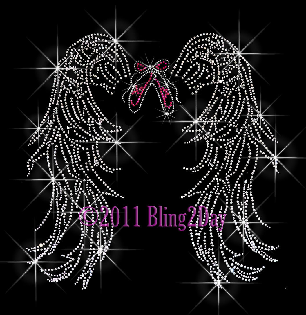 Primary image for Angel Wings - Dance Ballet Shoe - Iron on Rhinestone Transfer Bling Hot Fix Mom