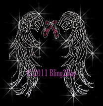 Angel Wings - Dance Ballet Shoe - Iron on Rhinestone Transfer Bling Hot ... - $13.99