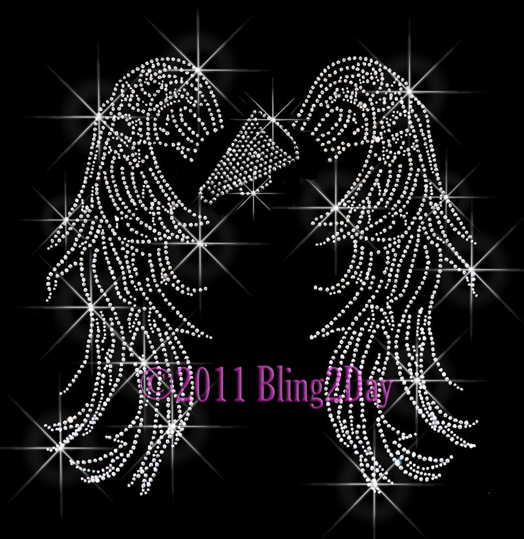 Primary image for Angel Wings - Cheer Megaphone - Iron on Rhinestone Transfer Bling Hot Fix Sports