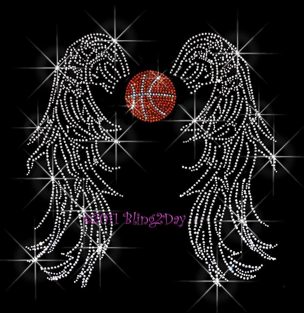 Primary image for Angel Wings - Basketball - Iron on Rhinestone Transfer Bling Hot Fix Sports Mom