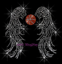 Angel Wings - Basketball - Iron on Rhinestone Transfer Bling Hot Fix Spo... - $13.99