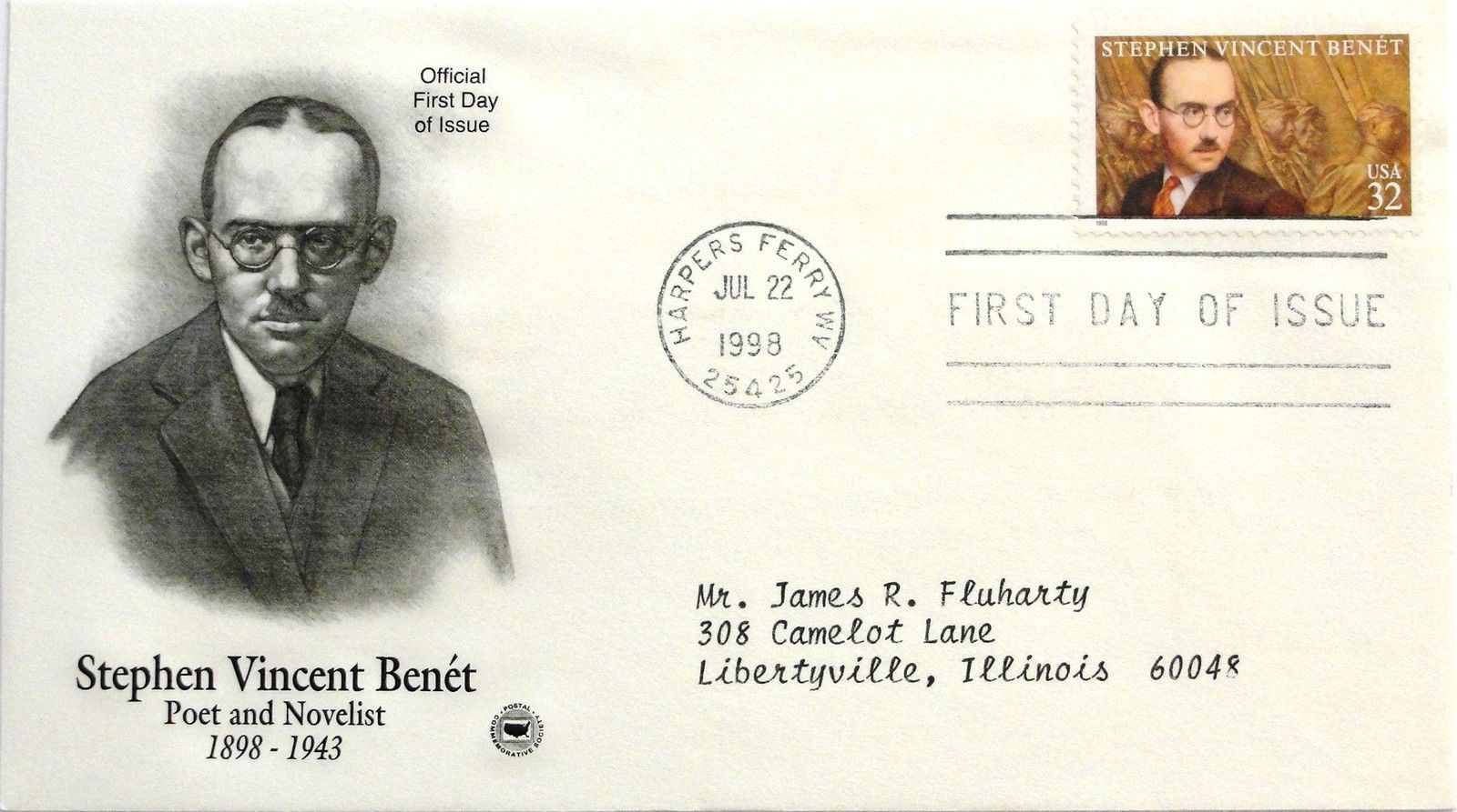 July 22, 1998 First Day of Issue, PC Society Covers, Stephen Vincent Benet #26