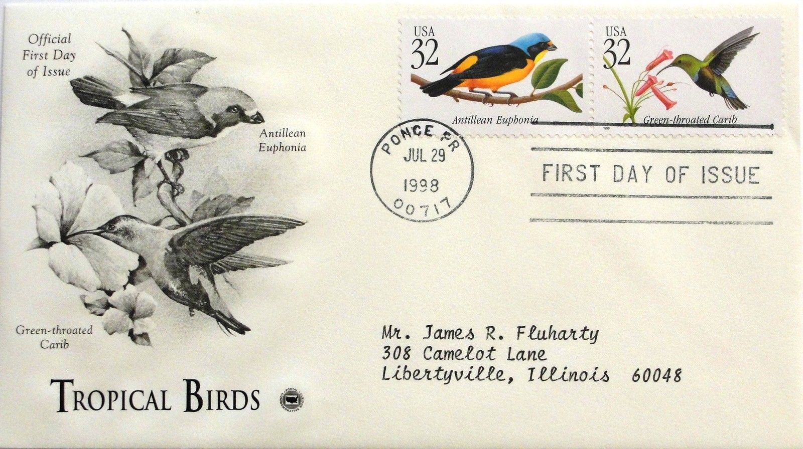 July 29, 1998 First Day of Issue, PC Society Covers, Birds-Carib/Euphonia #28
