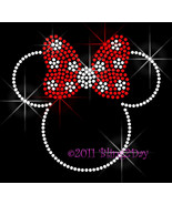 Minnie with RED Polka Dot Bow - Iron on Rhinestone Transfer Bling Hot Fi... - $6.99
