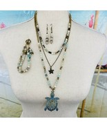 Agate Quartz Necklace 3 Strand Sea Shells Turtle Antique Gold Tone Chain... - $89.09