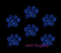 Lot of 6 (XS) Royal Blue Paw Print - Iron on Rhinestone Transfer Bling H... - $9.99