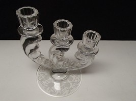 FOSTORIA THREE LIGHT PLUME BUTTERCUP ETCH CANDLE~~~ - $33.99
