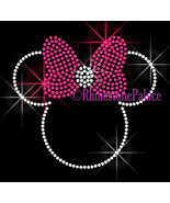 Hot Pink BOW - Minnie - Iron on Rhinestone Transfer Bling Hot Fix Mouse ... - $6.99
