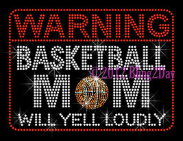 WARNING Basketball Mom - Iron on Rhinestone Transfer Hot Fix Bling Sport... - $9.99
