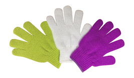 3 Pairs Ladies Plain Exfoliating Scrub Gloves, One Size Assorted Colours Pack B - $6.14