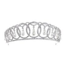 2019 Classic Design Cubic Zirconia Dangle pearl Wedding Bridal Tiara Cro... - £78.33 GBP