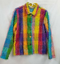 Life Style Colorful Checkered UNIQUE Button Jacket Sz L NWOT 1037 - $25.05