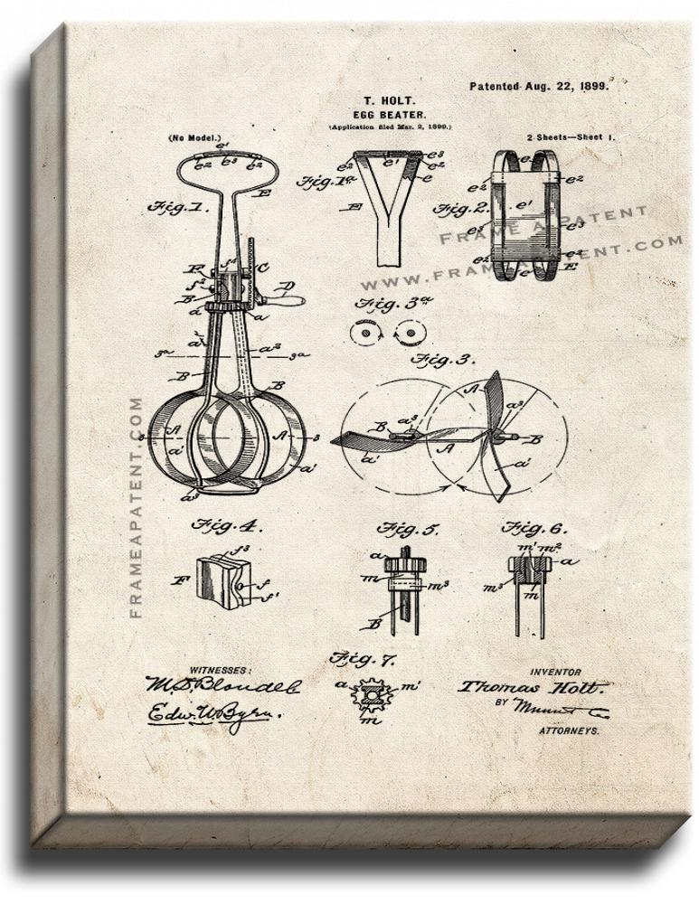 Primary image for Egg Beater Patent Print Old Look on Canvas