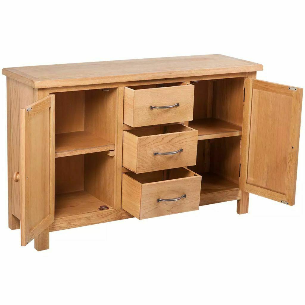 vidaXL Solid Oak Sideboard w/ 3 Drawers 2 Doors Side Storage Cabinet Cupboard image 3