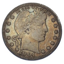 1904-O Barber Quarter Dollar 25C (Fine, F Condition) - $83.16