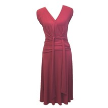 BCBG Max Azria Sm S Dress Wrap Top Dark Pink Red Jersey Knit Cap Sl Midi... - $19.95
