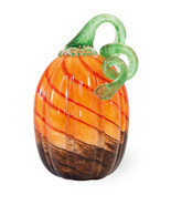 BROWN & ORANGE TALL GLASS PUMPKIN BY BOSTON INTERNATIONAL - £38.24 GBP