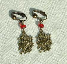Bronze Christmas Bell Dangle Earrings with Clip Ons - Handmade Christmas... - $13.99