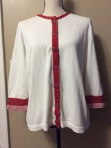 Christopher & Banks White Cotton Cardigan Sweater Red Polka Dot Trim Sz L - $19.34