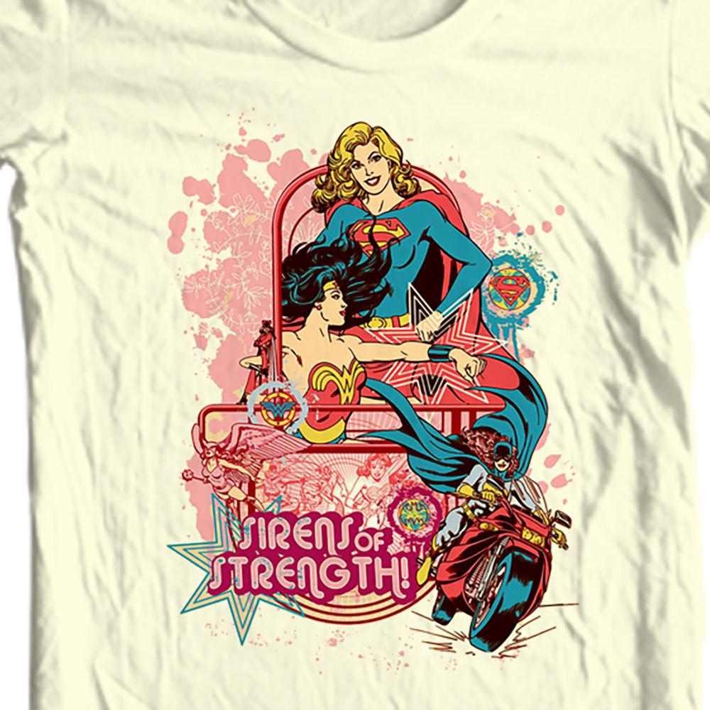 Er woman supergirl cat woman bat girl retro comic book tee for sale online graphic tee store tan