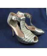 Cole Haan Heels Croc Embossed Leather Gold 6.5 med platform sandal Gladi... - $29.69